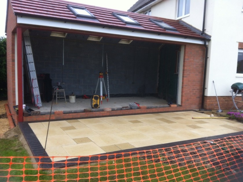 3.Roof on and patio layed, just ready for bi-folds, Over