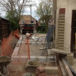 4.Side extension out the ground and blockwork going up on rear sun room, Cambridge